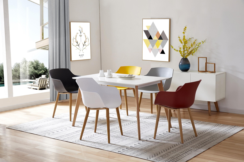 ANDREA-Chaise scandinave blanc pied métal effet bois (x2)