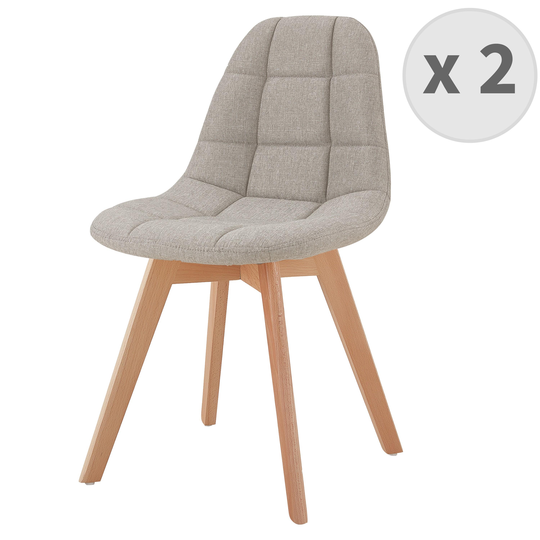 Chaise scandinave tissu lin pied hêtre (x2)