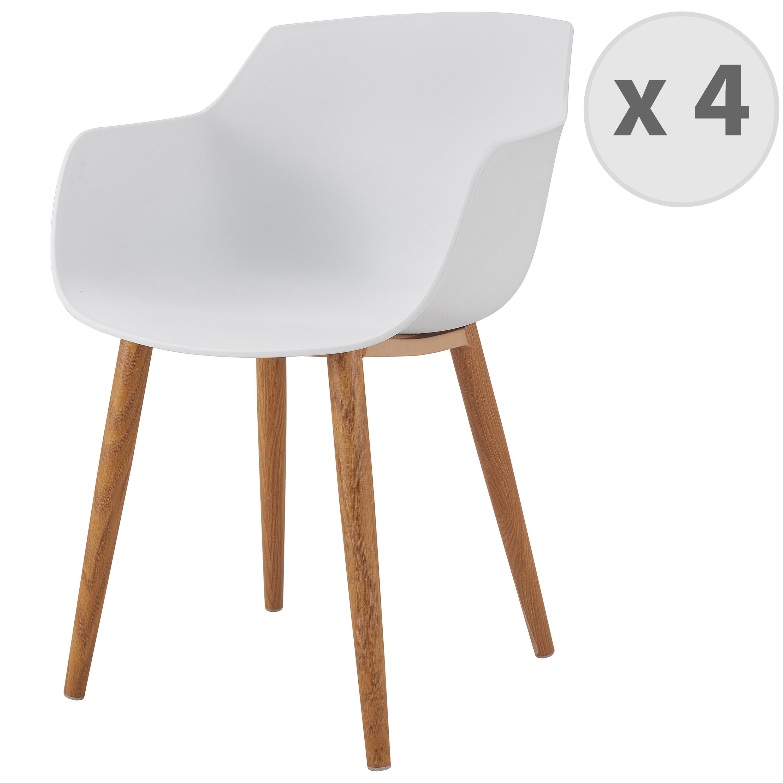 Chaise scandinave blanc pied métal effet bois (x4)