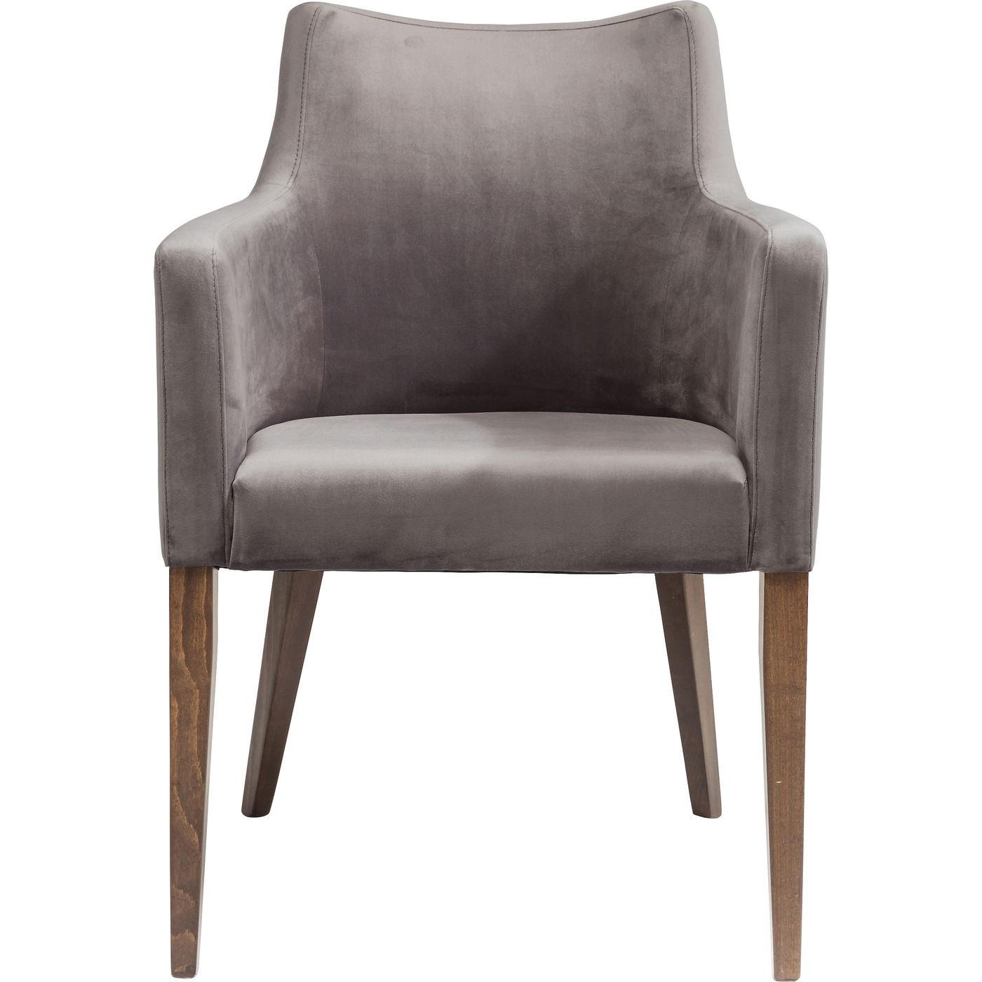 Chaise avec accoudoirs en velours gris et hêtre laqué
