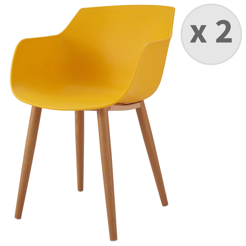 Chaise scandinave curry pied métal effet bois (x2)