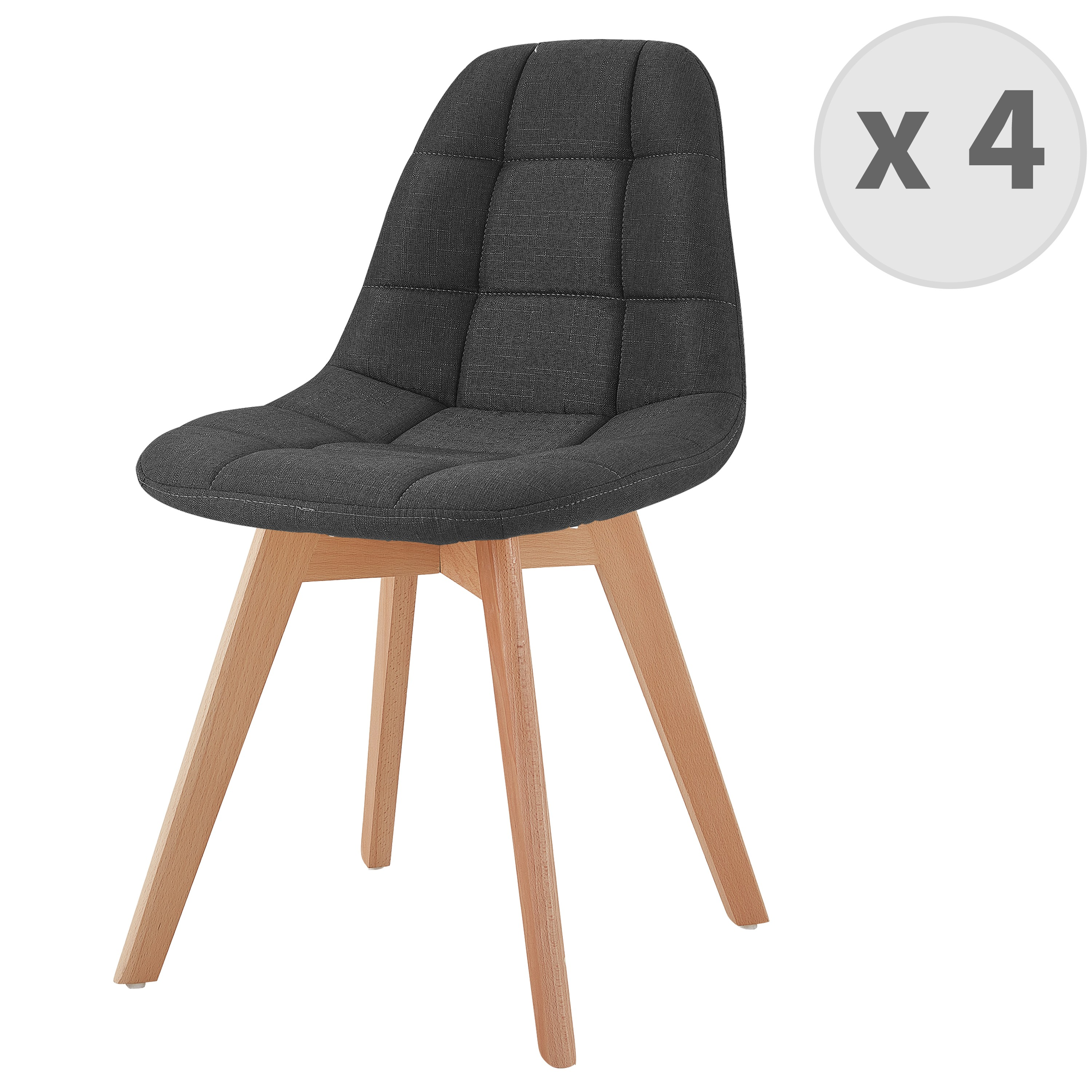 Chaise scandinave tissu anthracite pied hêtre (x4)
