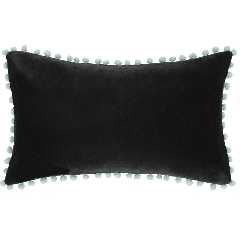 Housse de coussin en velour de coton 50x30 Noir