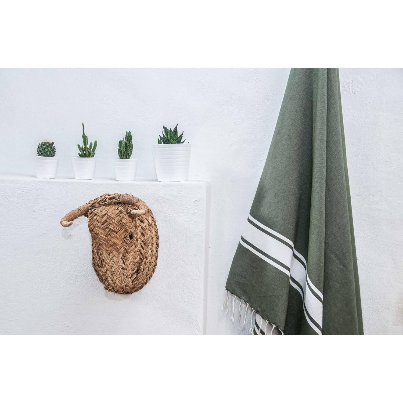Fouta en coton bande blanche 100x200 Vert kaki