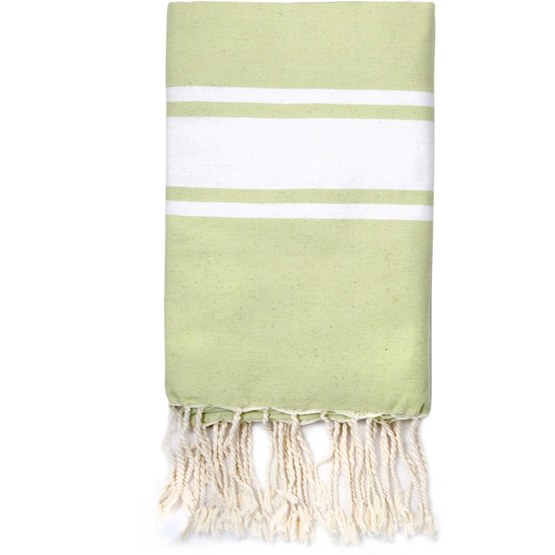 Fouta en coton bande blanche 100x200 Vert amande