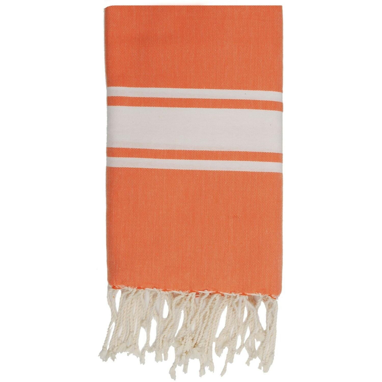 Fouta en coton bande blanche 100x200 Orange mandarine