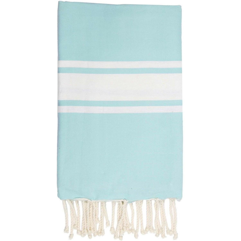 Fouta en coton bande blanche 100x200 Bleu aqua