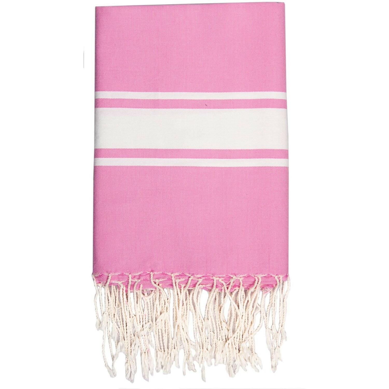 Fouta en coton bande blanche 100x200 Rose malabar