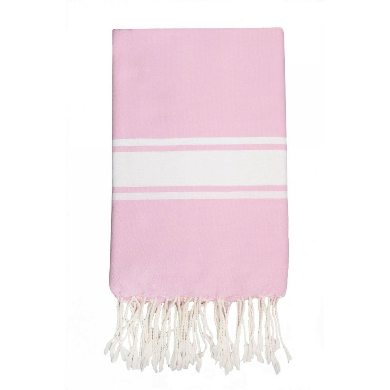 Fouta en coton bande blanche 100x200 Rose pâle