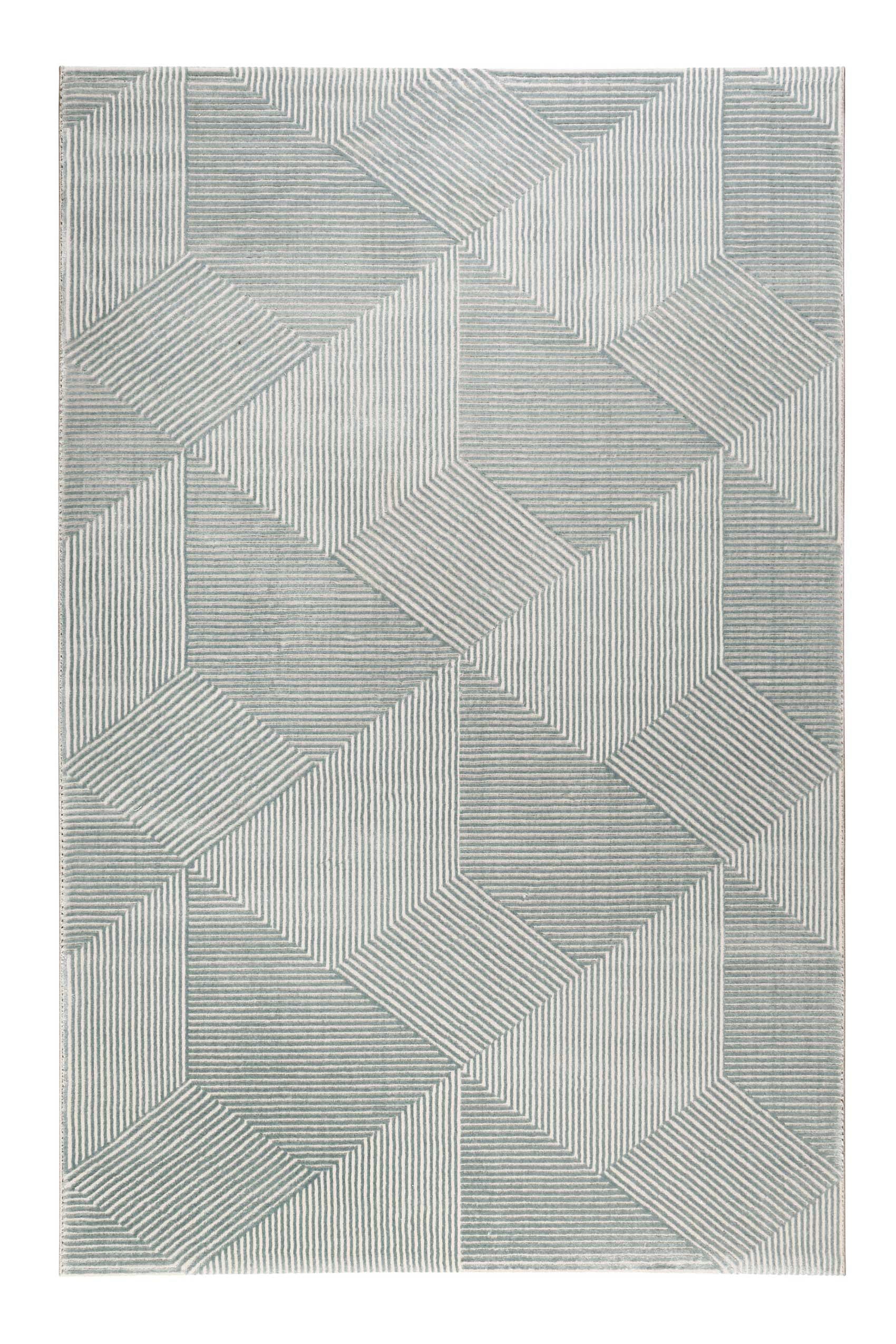 Tapis motif géométrique relief vert beige 170x120