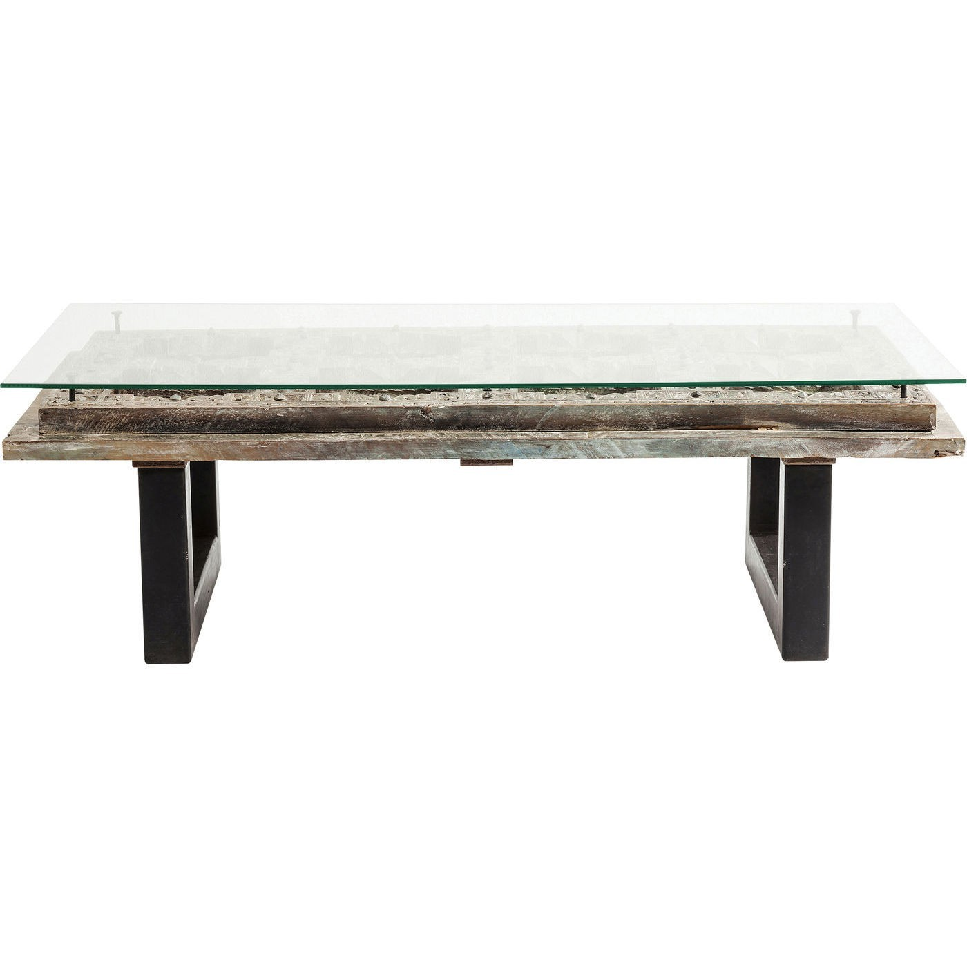 Table basse en manguier massif sculpté et verre