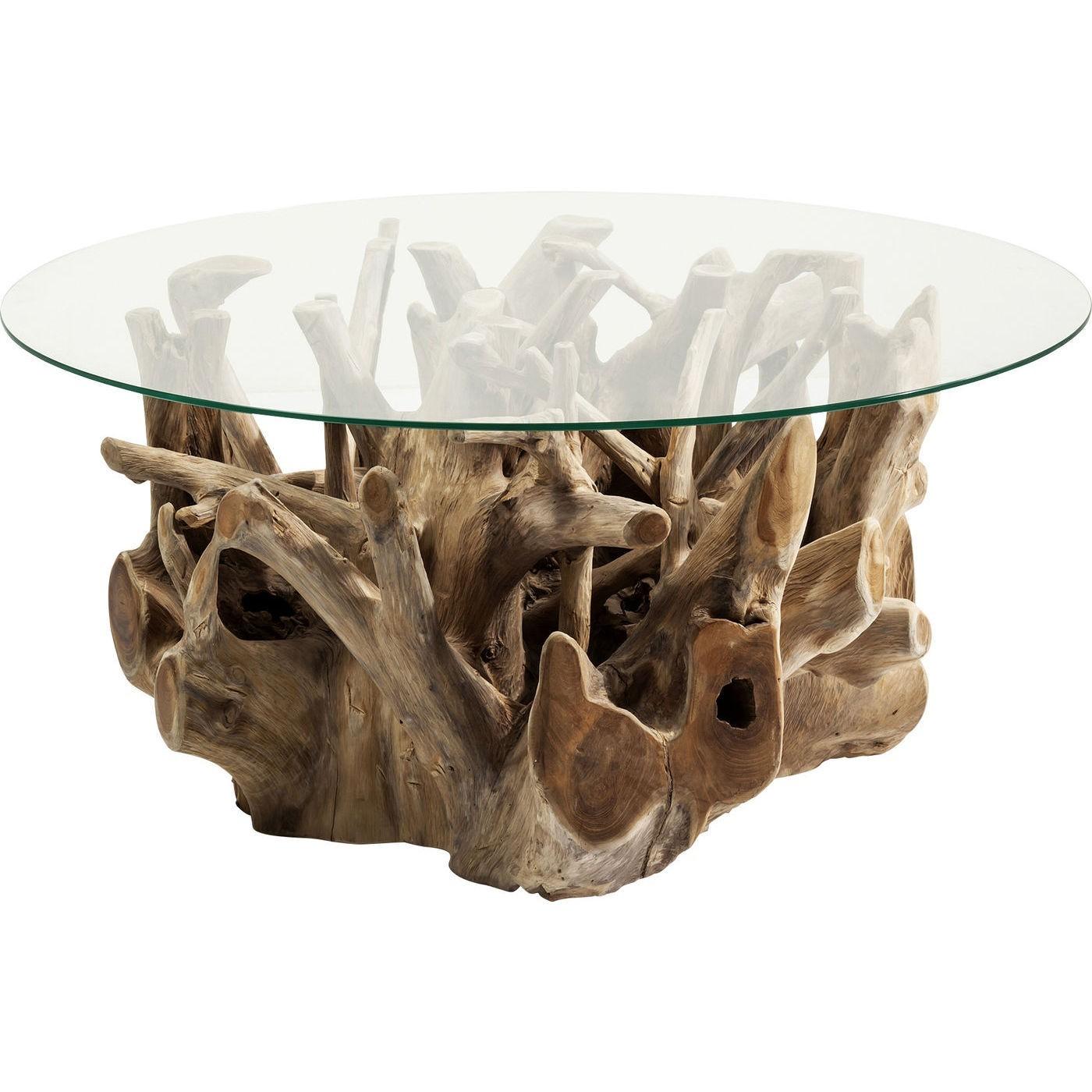 Table basse en teck flotté et verre