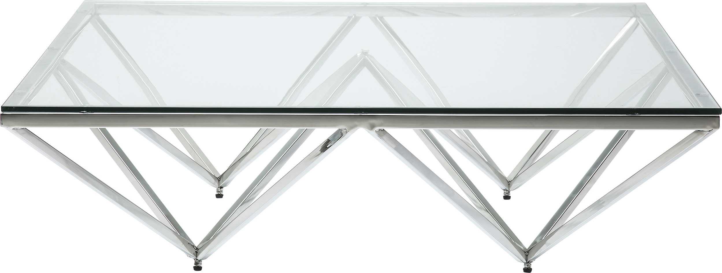 Table basse carrée en acier argenté et verre