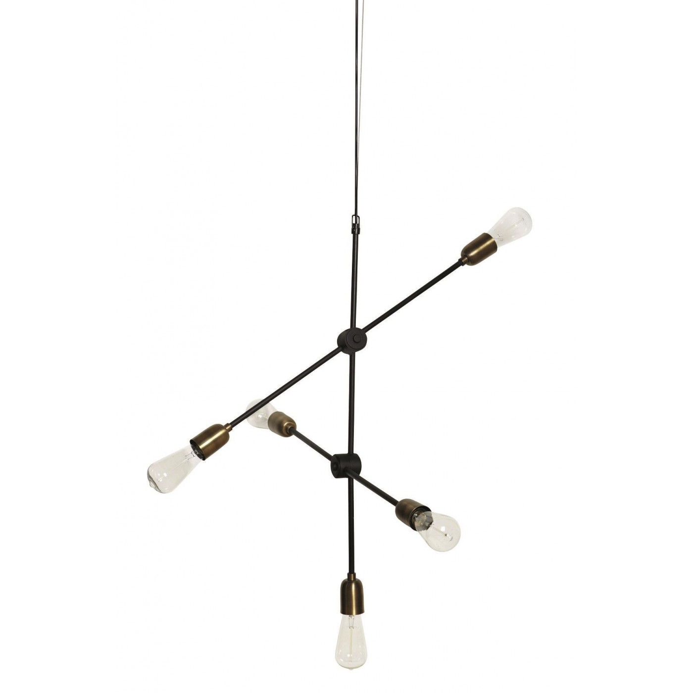 Lampe suspension industrielle dorée 5 ampoules