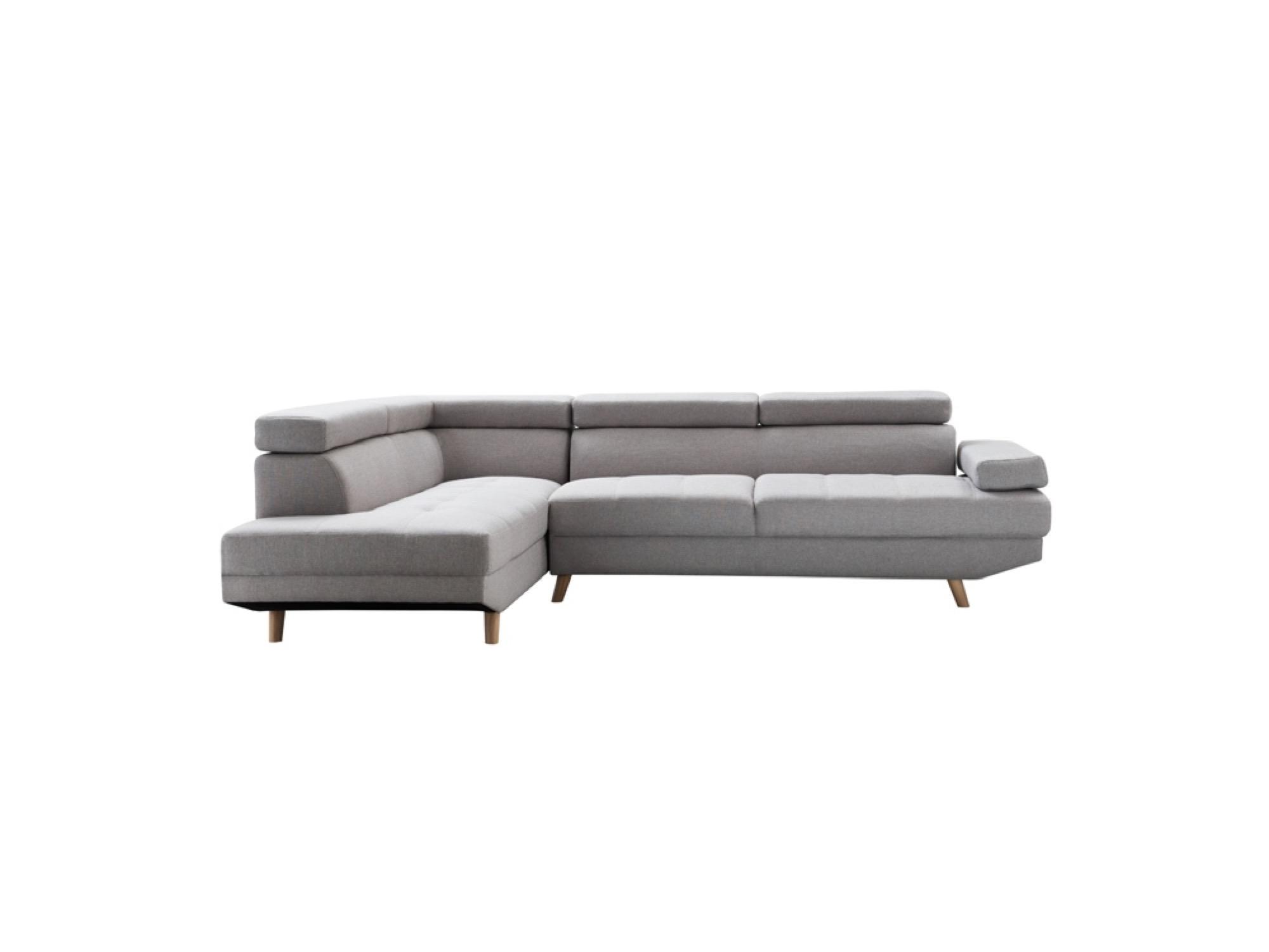 Canapé d'angle gauche Scandinave 4 places en tissu gris clair