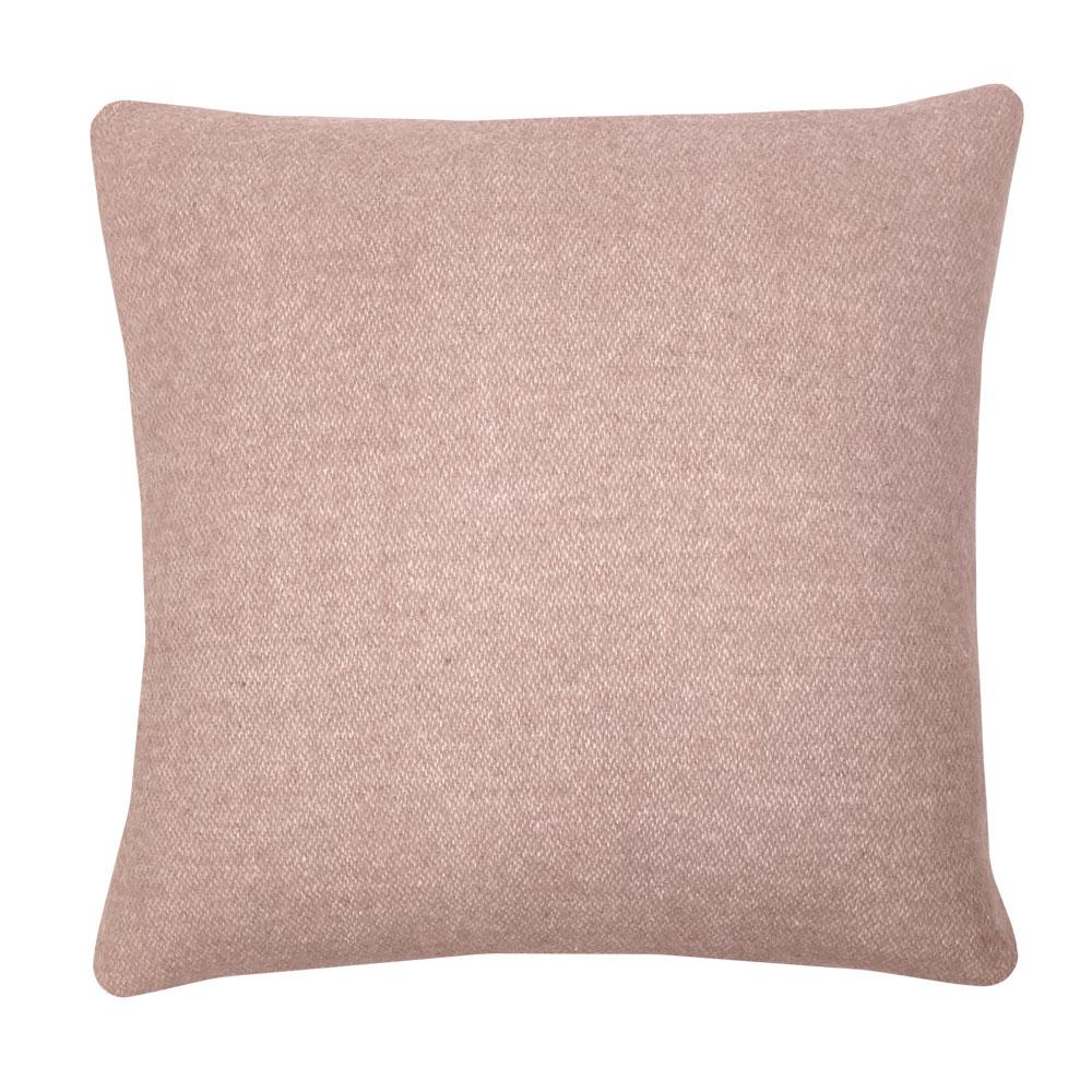Coussin carré en laine double face rose brumeux 50x50