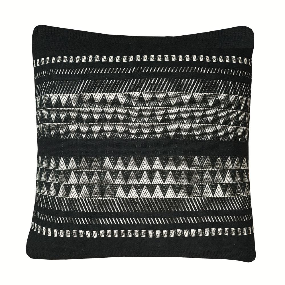 Coussin en coton à rayures noires 60x60