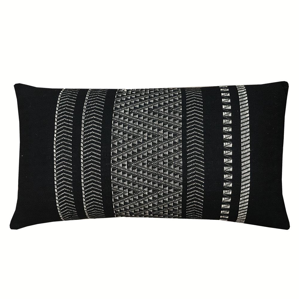 Coussin en coton natif rayé noir 35x65