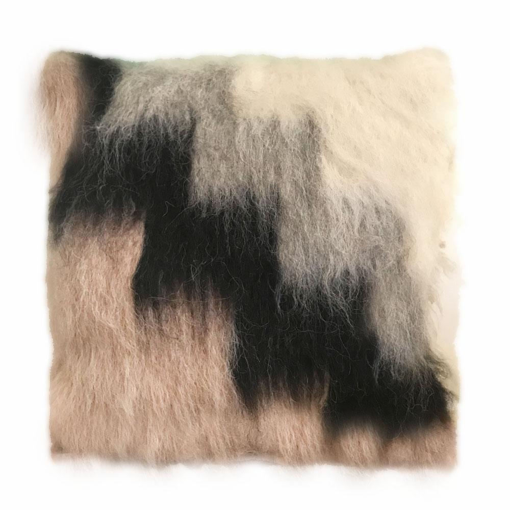 Coussin 100% laine rose et noir 50x50