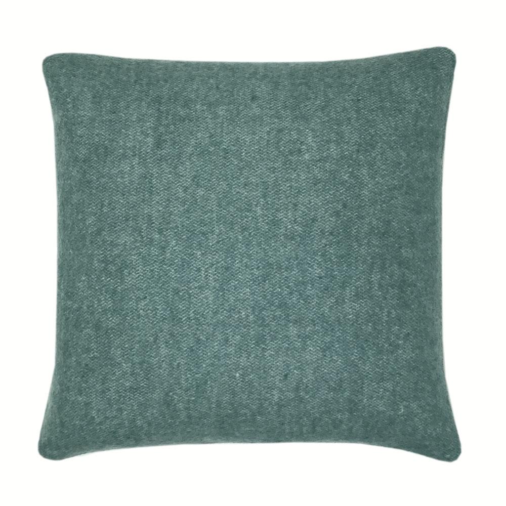 Coussin carré en laine double face vert tendre 50x50