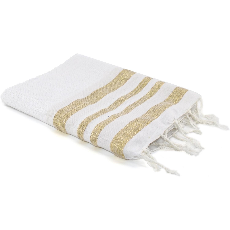 Fouta en coton 100x200 Blanc et or
