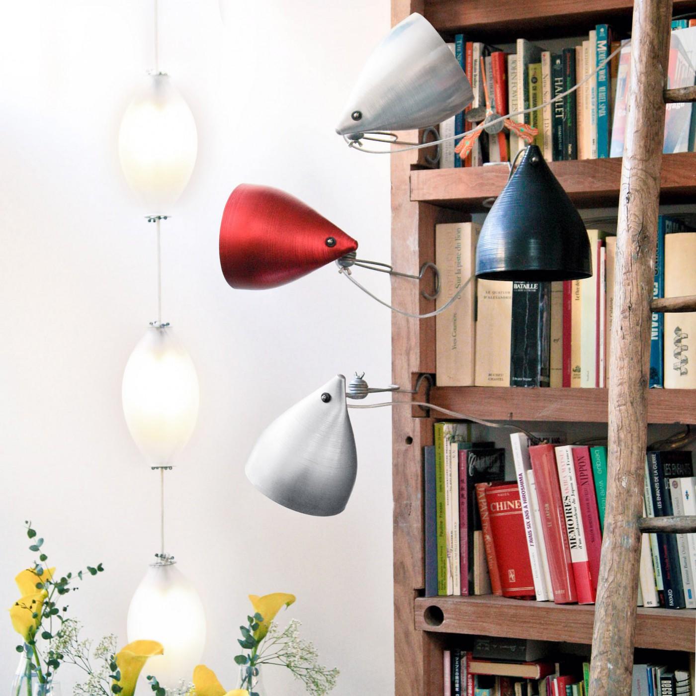 Lampe à pincer en aluminium naturel