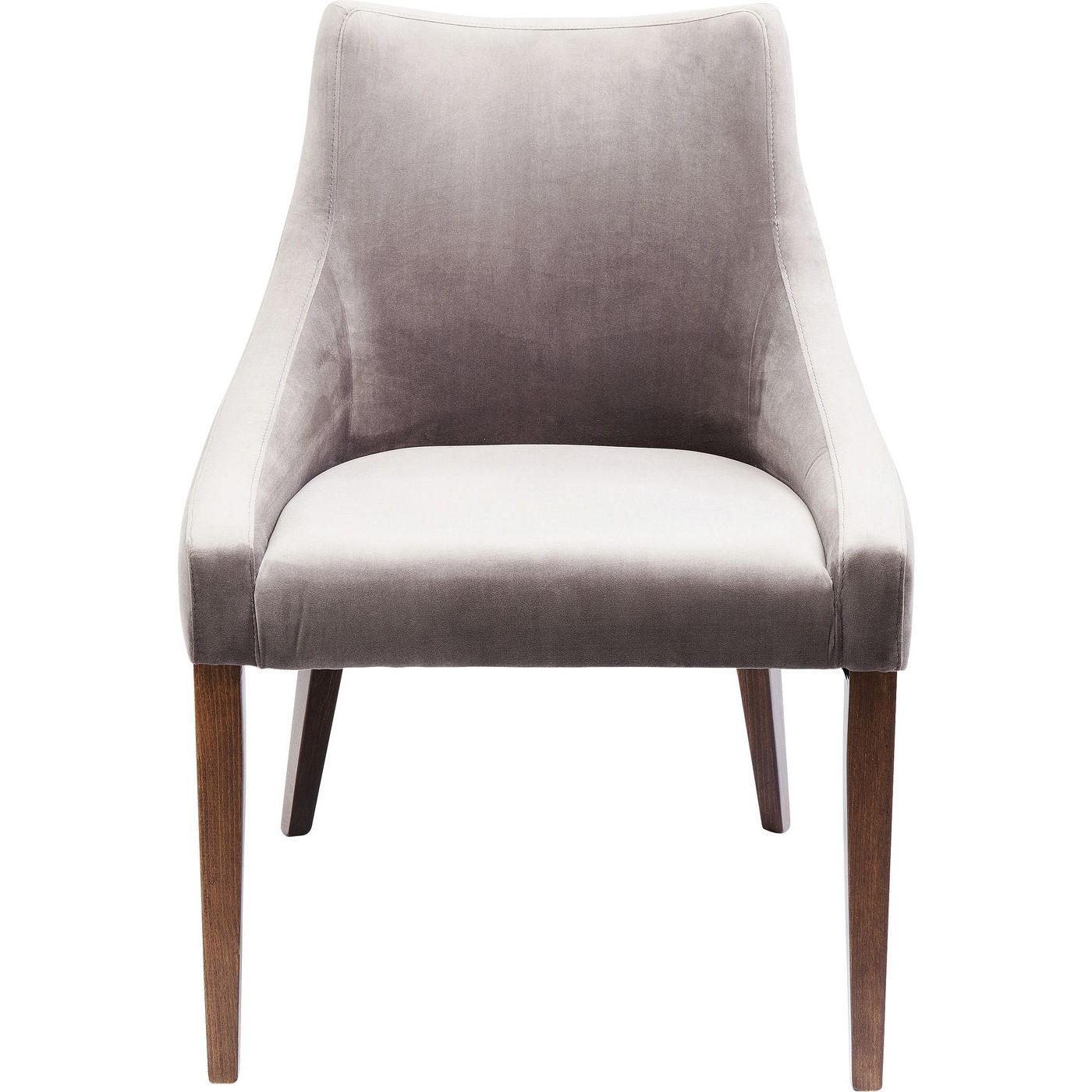 Chaise en velours gris et hêtre laqué