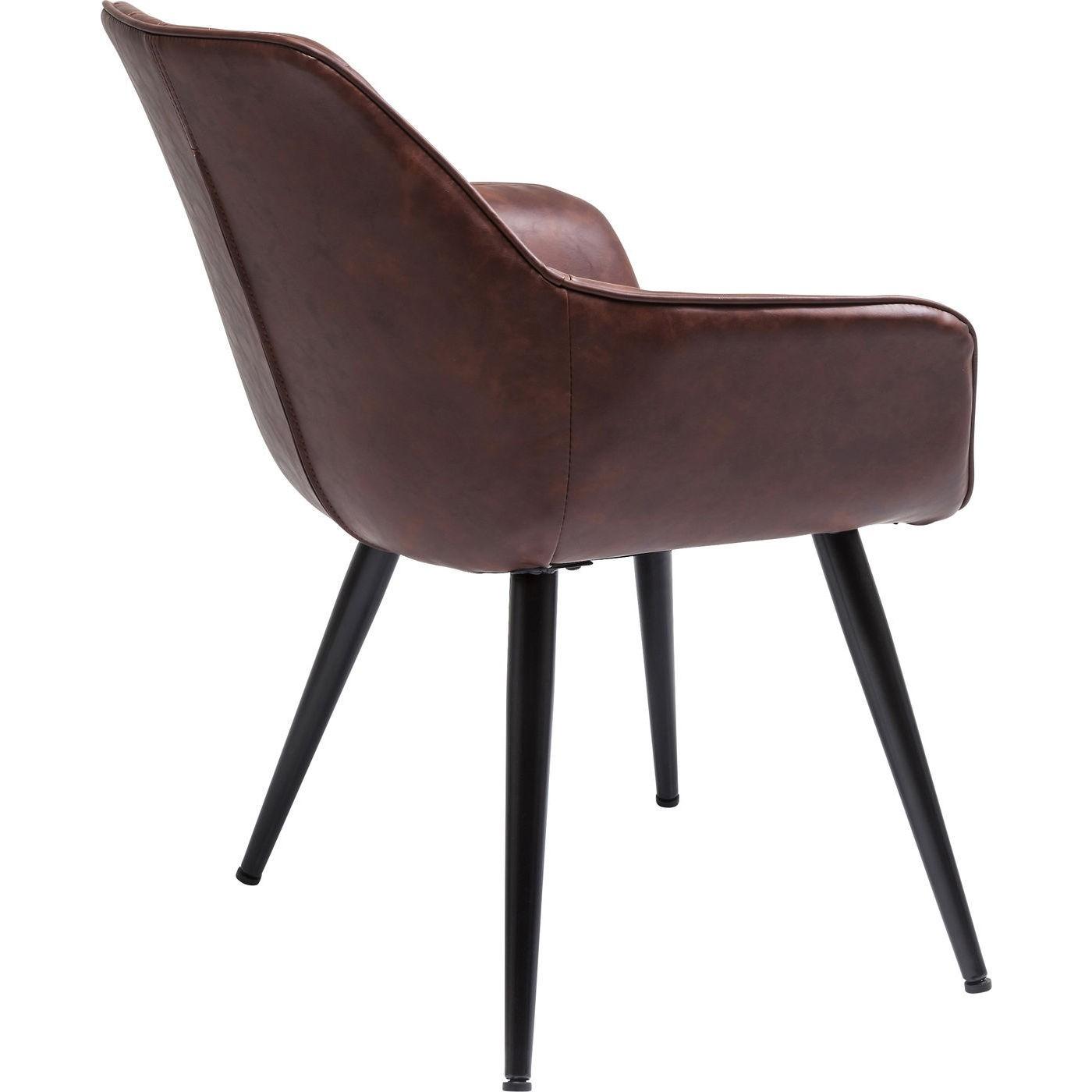 Chaise avec accoudoirs vintage marron et acier