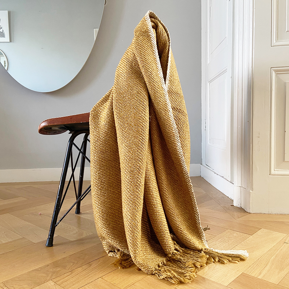 Plaid jaune miel 125x150