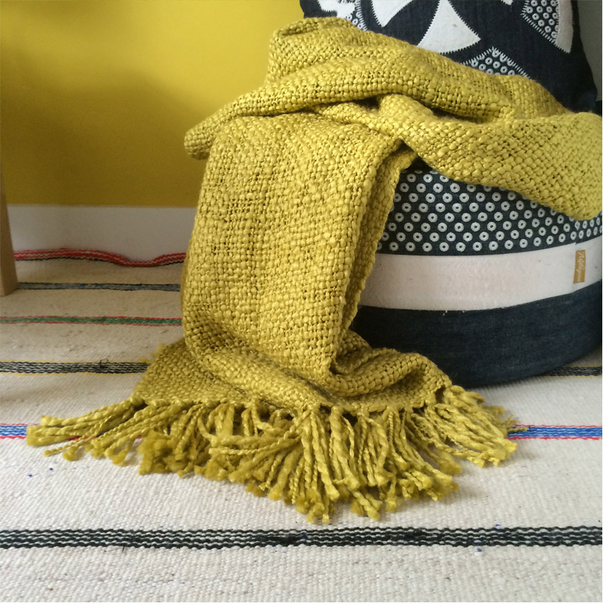 Plaid jaune moutarde 125x150
