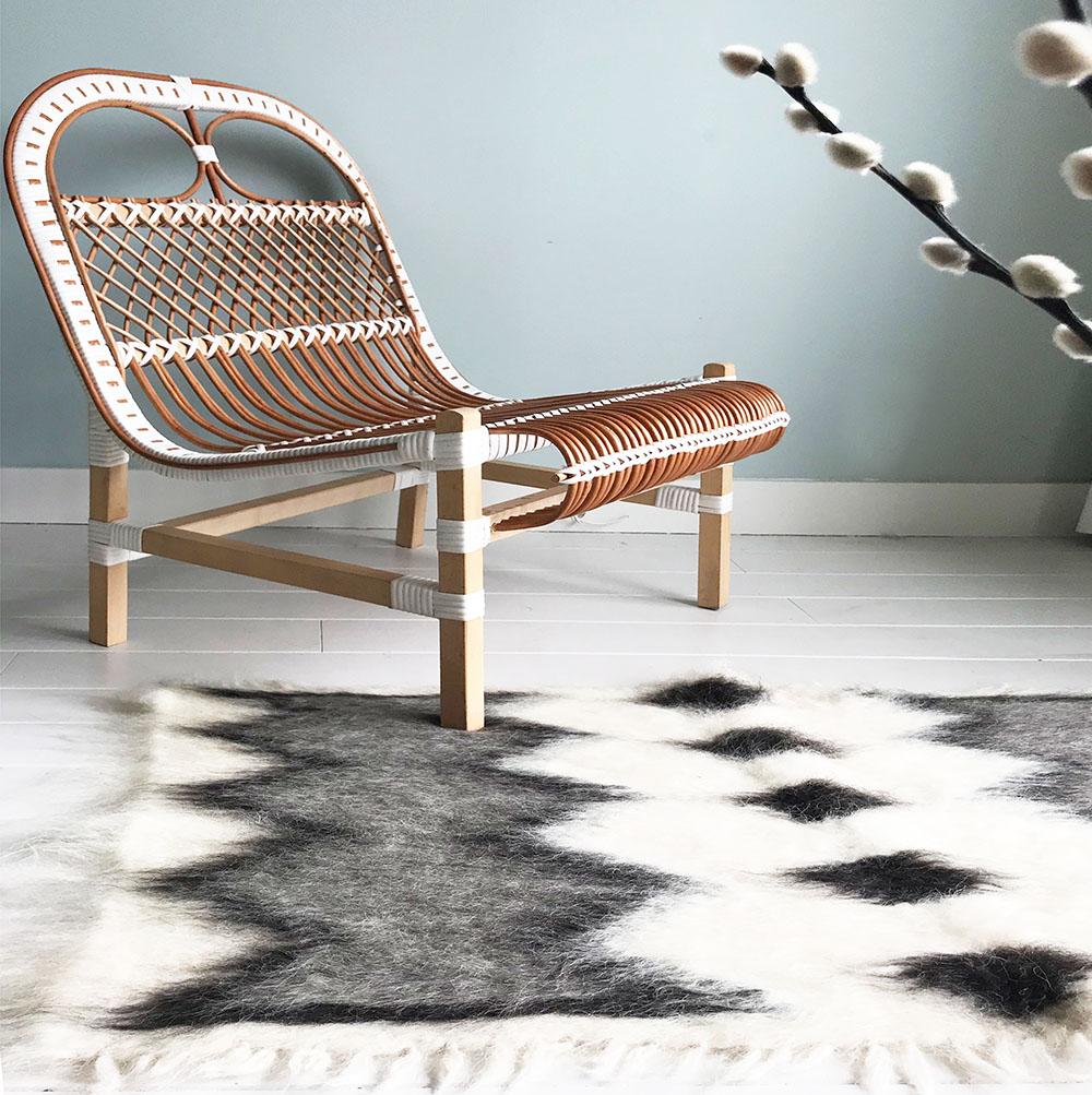 Plaid 100% laine noir et blanc 75x125