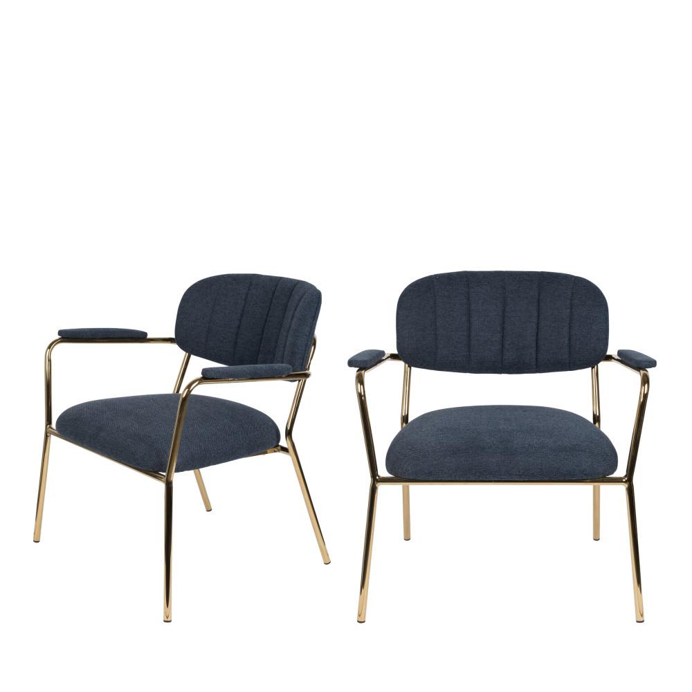 2 fauteuils pieds dorés bleu foncé