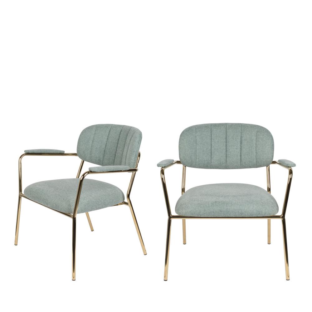 2 fauteuils pieds dorés vert de gris