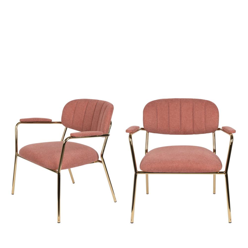 2 fauteuils pieds dorés rose