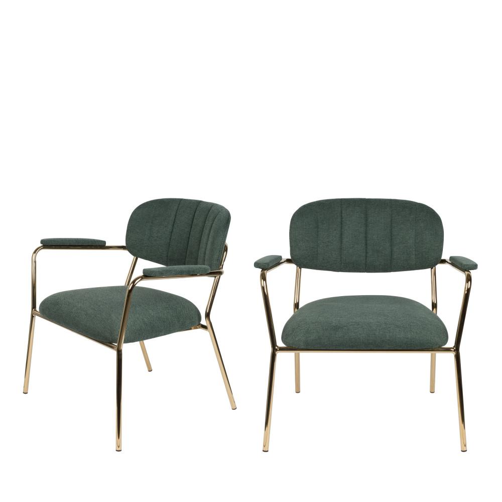 2 fauteuils pieds dorés vert