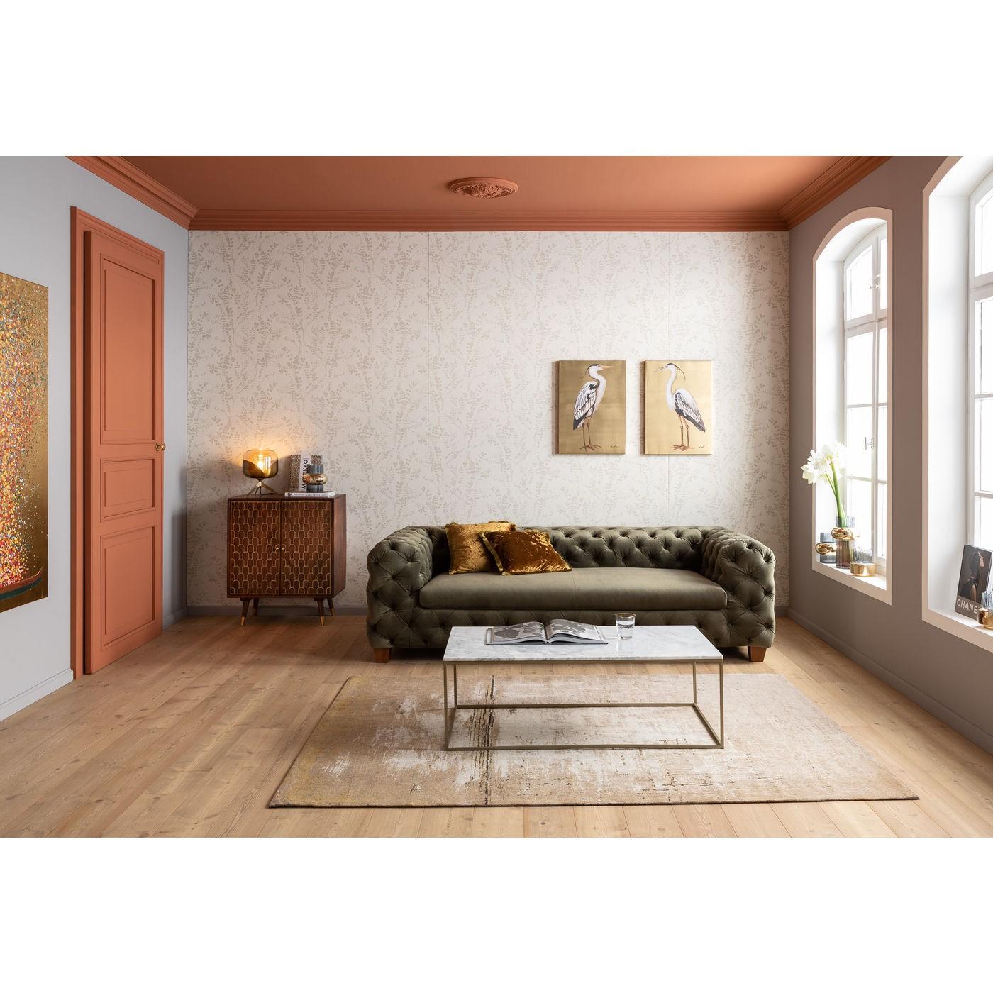 Table basse en marbre blanc et acier doré