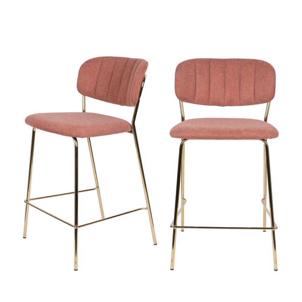 2 tabourets de bar en tissu avec pieds dorés rose