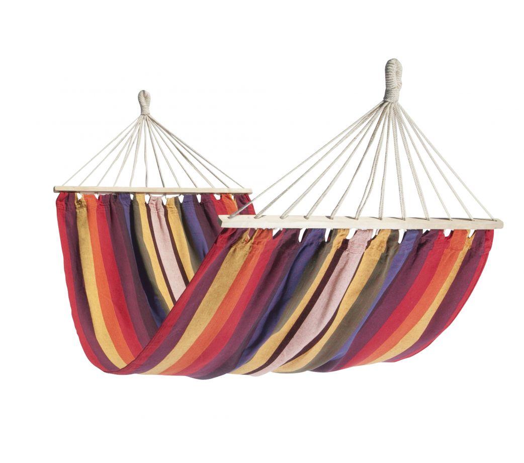 Hamac à barre simple en tissu rayé multicolore