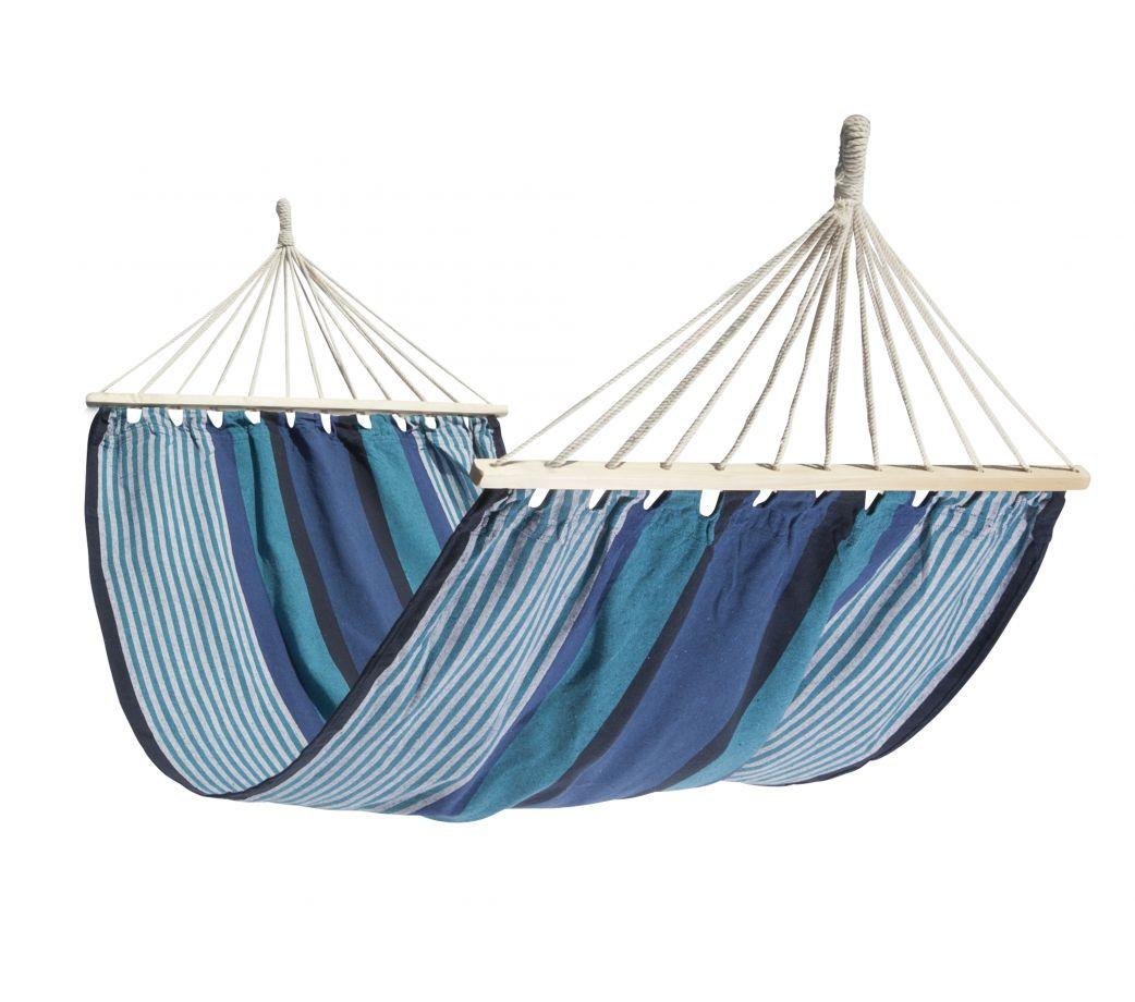 Hamac à barre simple en tissu rayé bleu