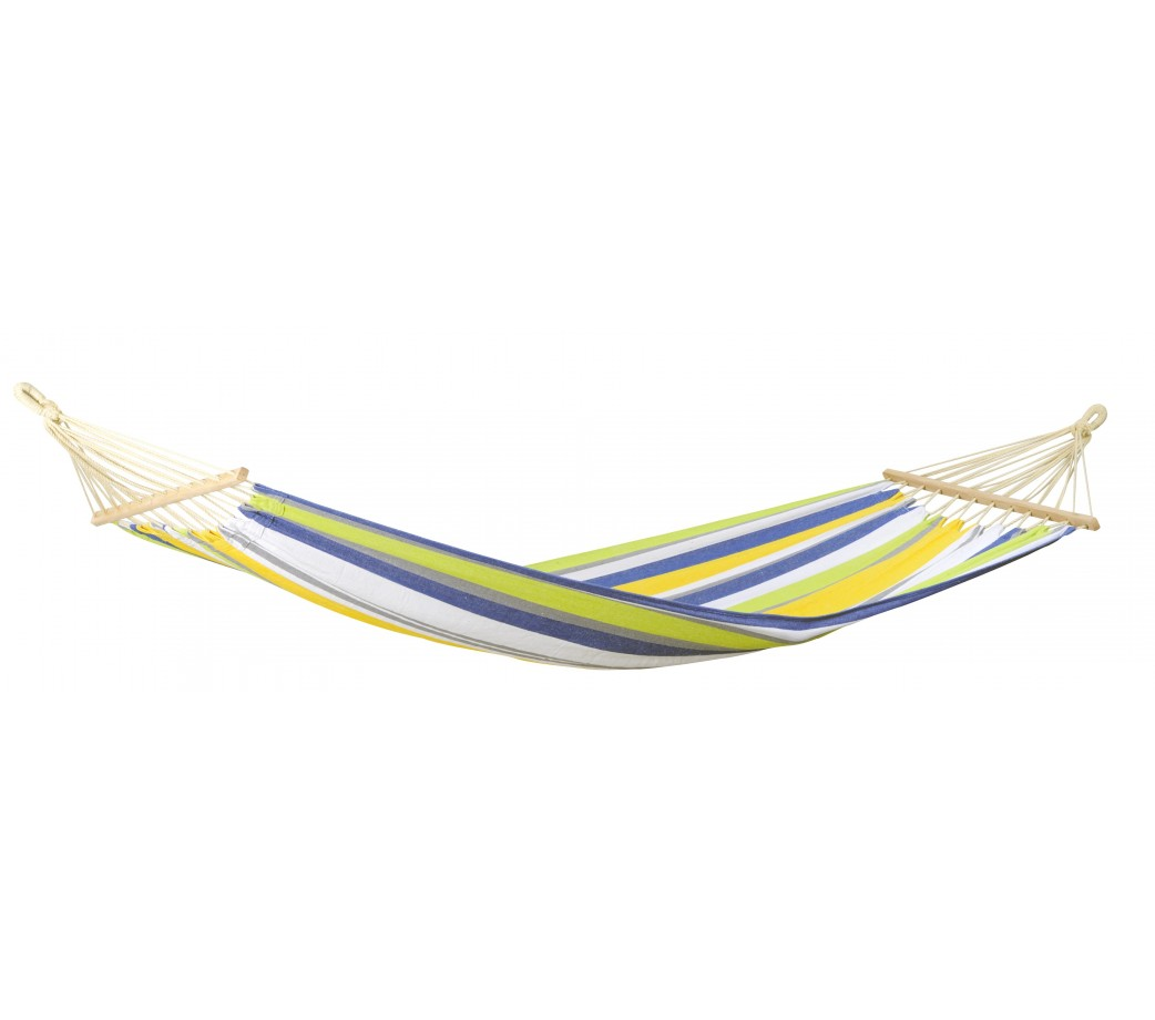 Hamac simple à barre en tissu imperméable vert et jaune