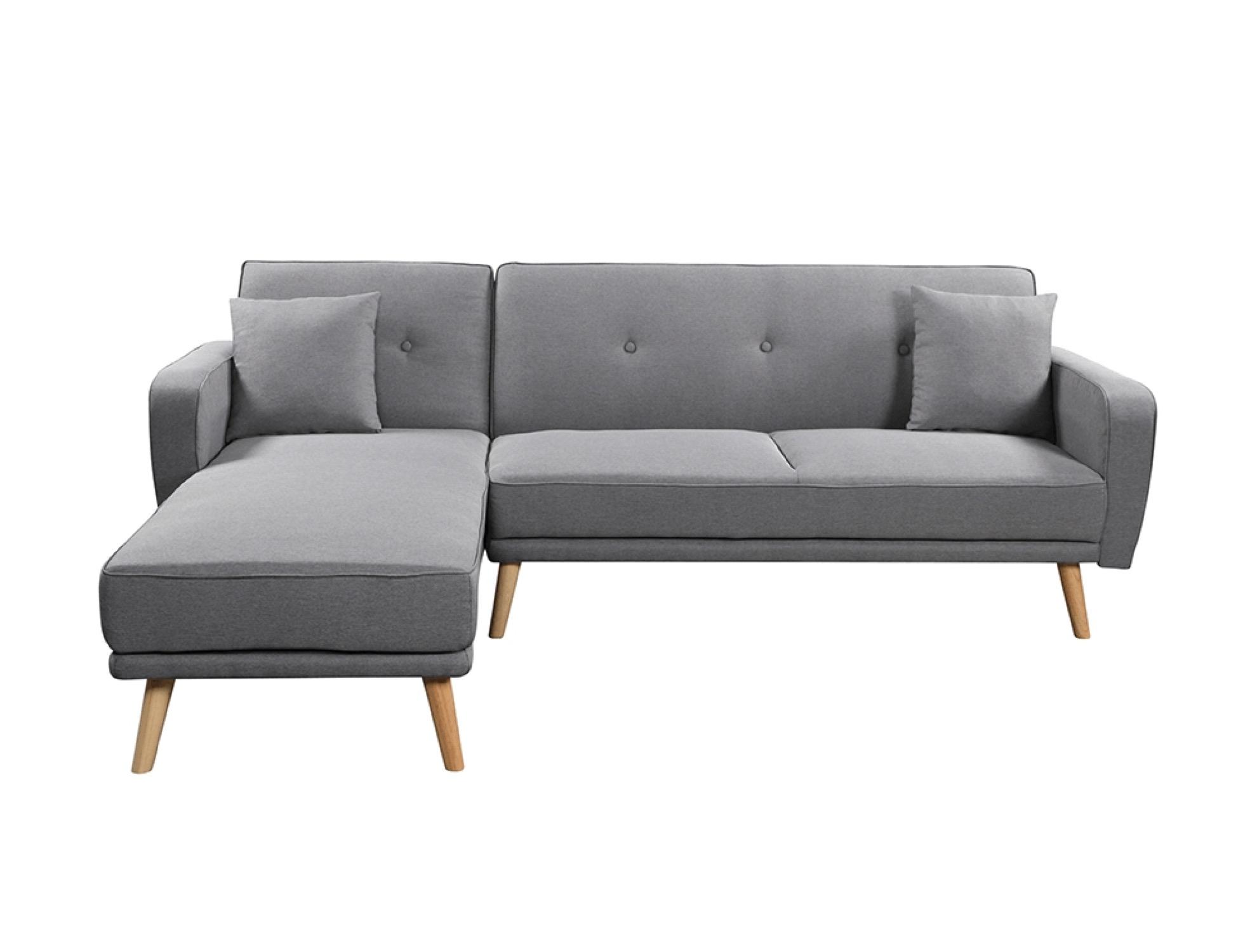 Canapé d'angle réversible et convertible en tissu gris clair