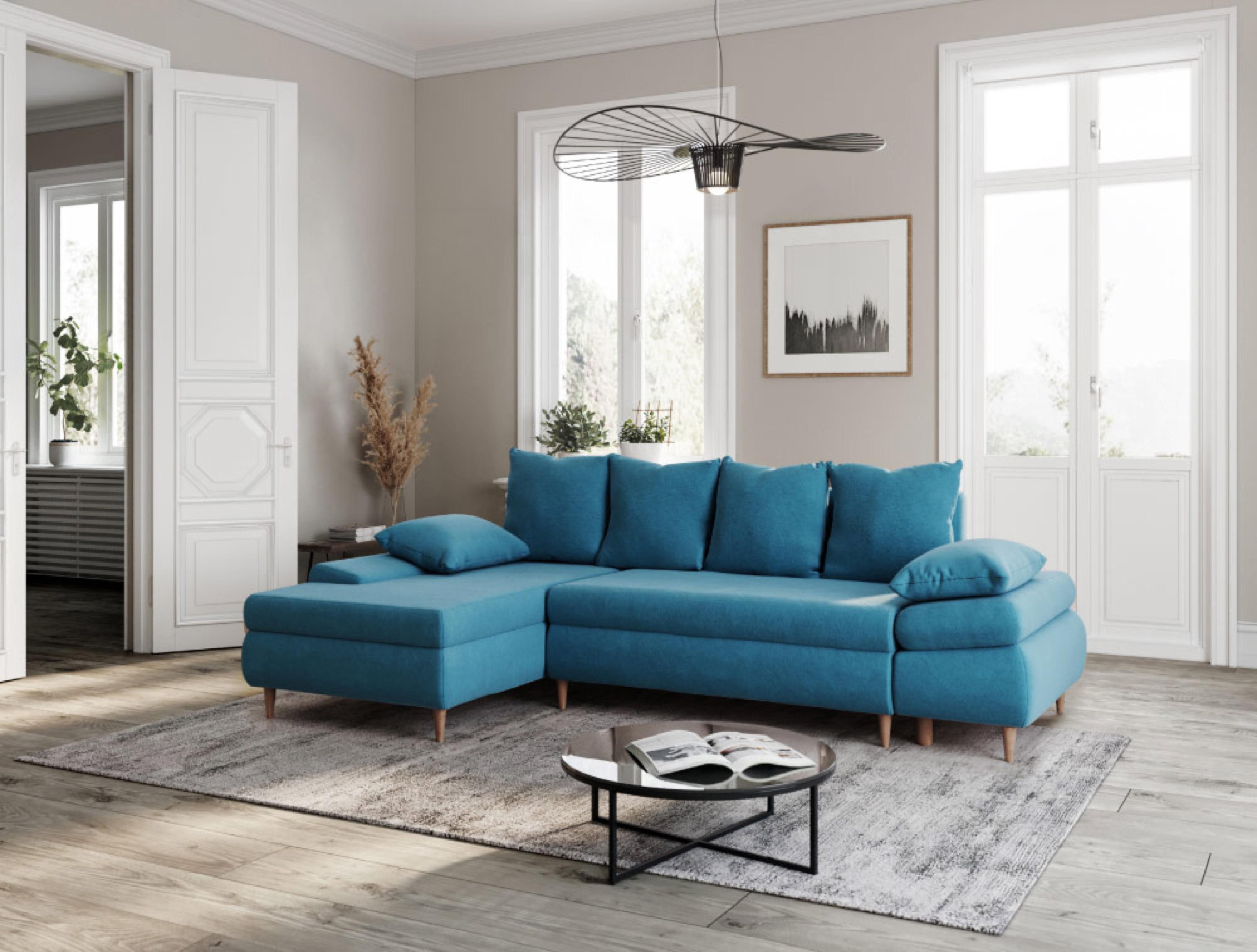 Canapé d'angle gauche convertible 5 places en tissu bleu