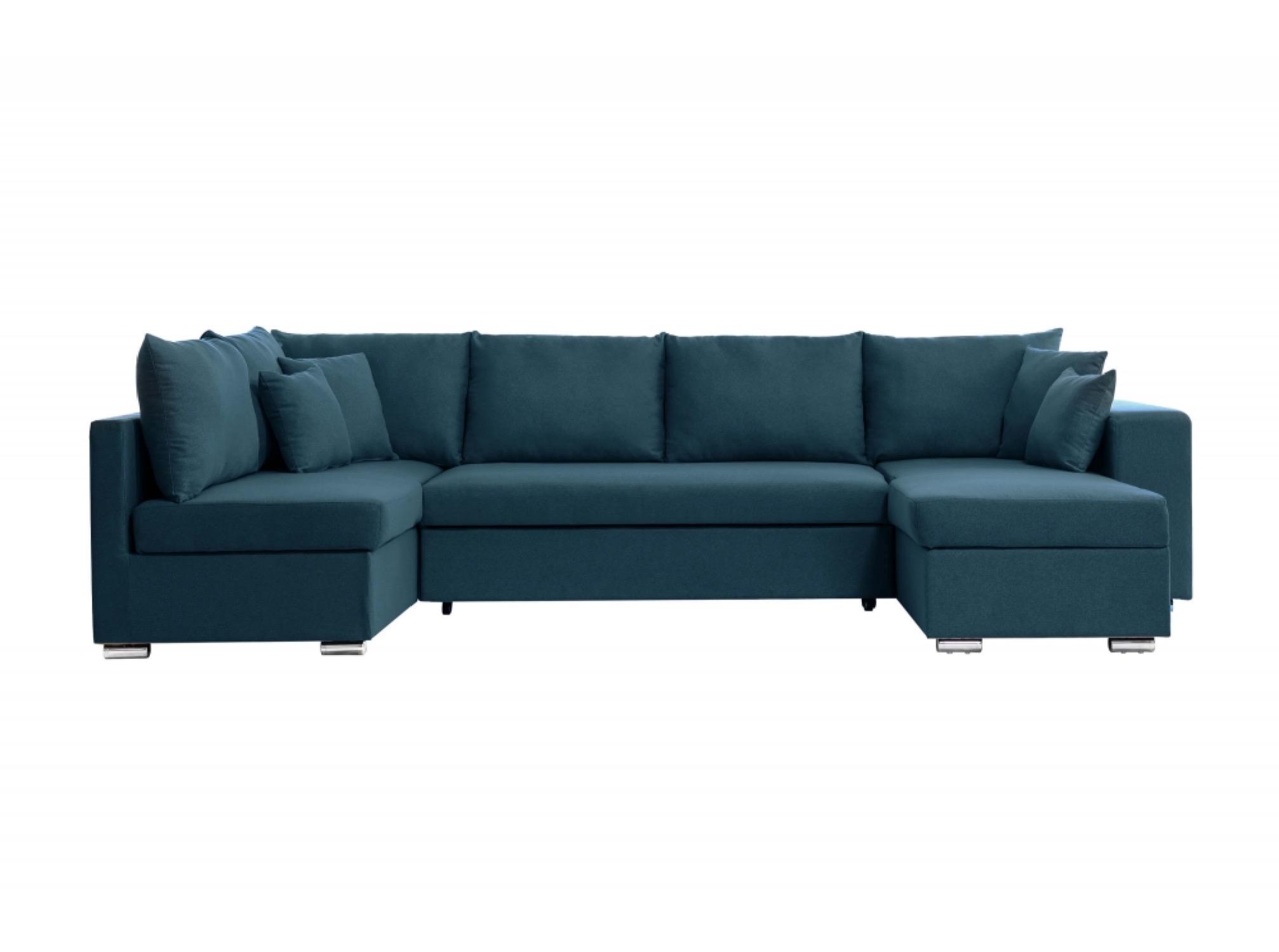 Canapé d'angle panoramique convertible 6 places en tissu bleu
