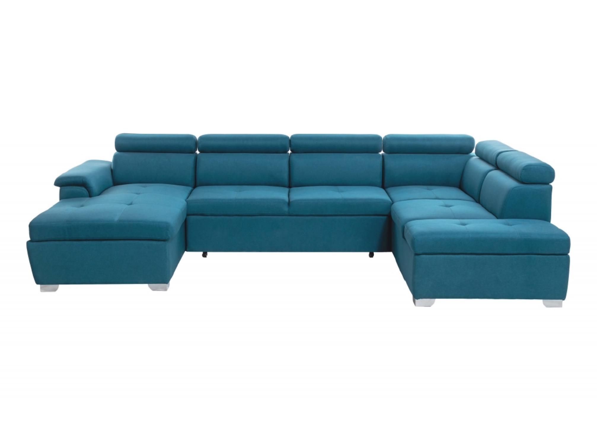 Canapé panoramique convertible avec coffre de rangement en tissu bleu