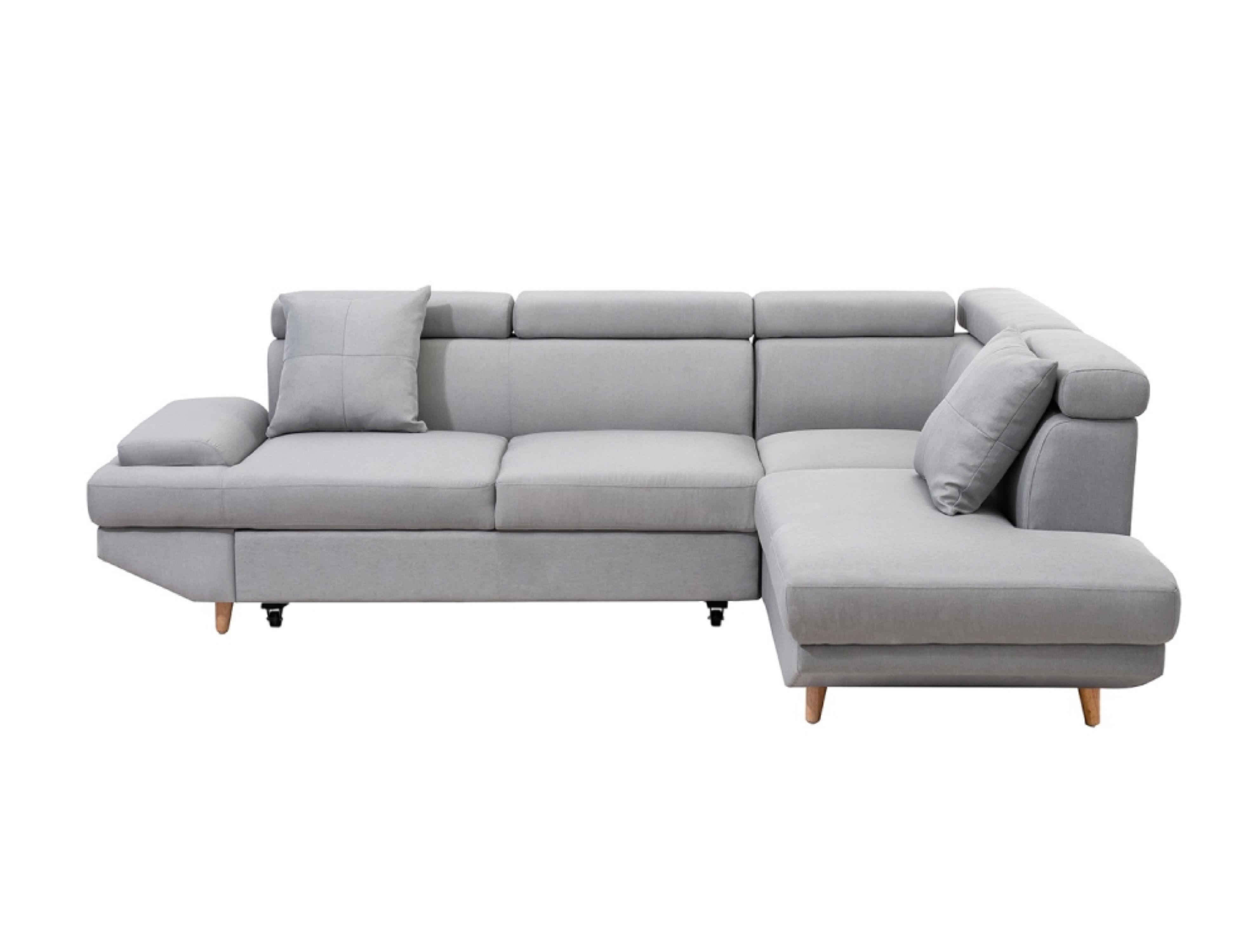 Canapé d'angle droit convertible 4 places en tissu gris clair