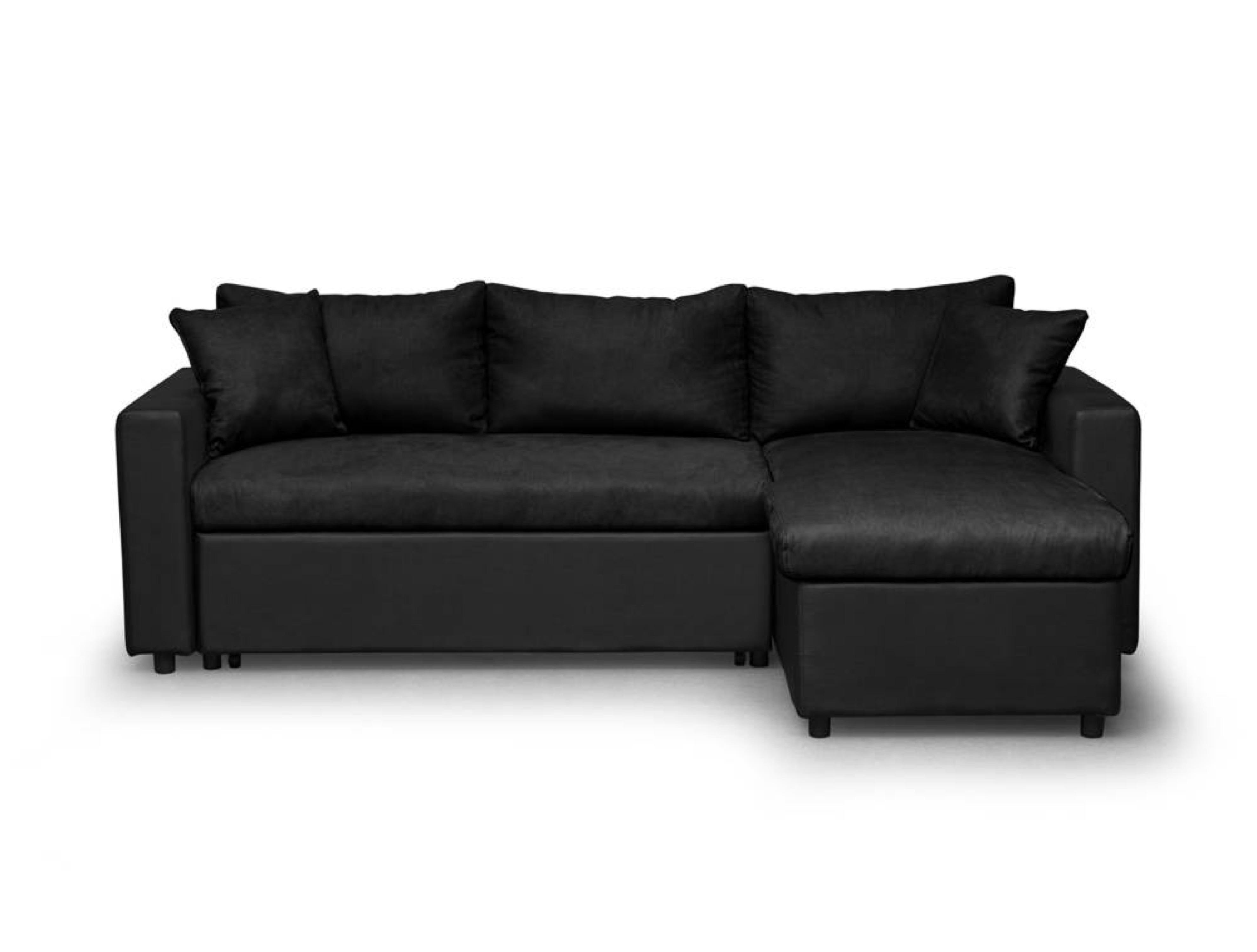 Canapé d'angle réversible et convertible avec coffre noir