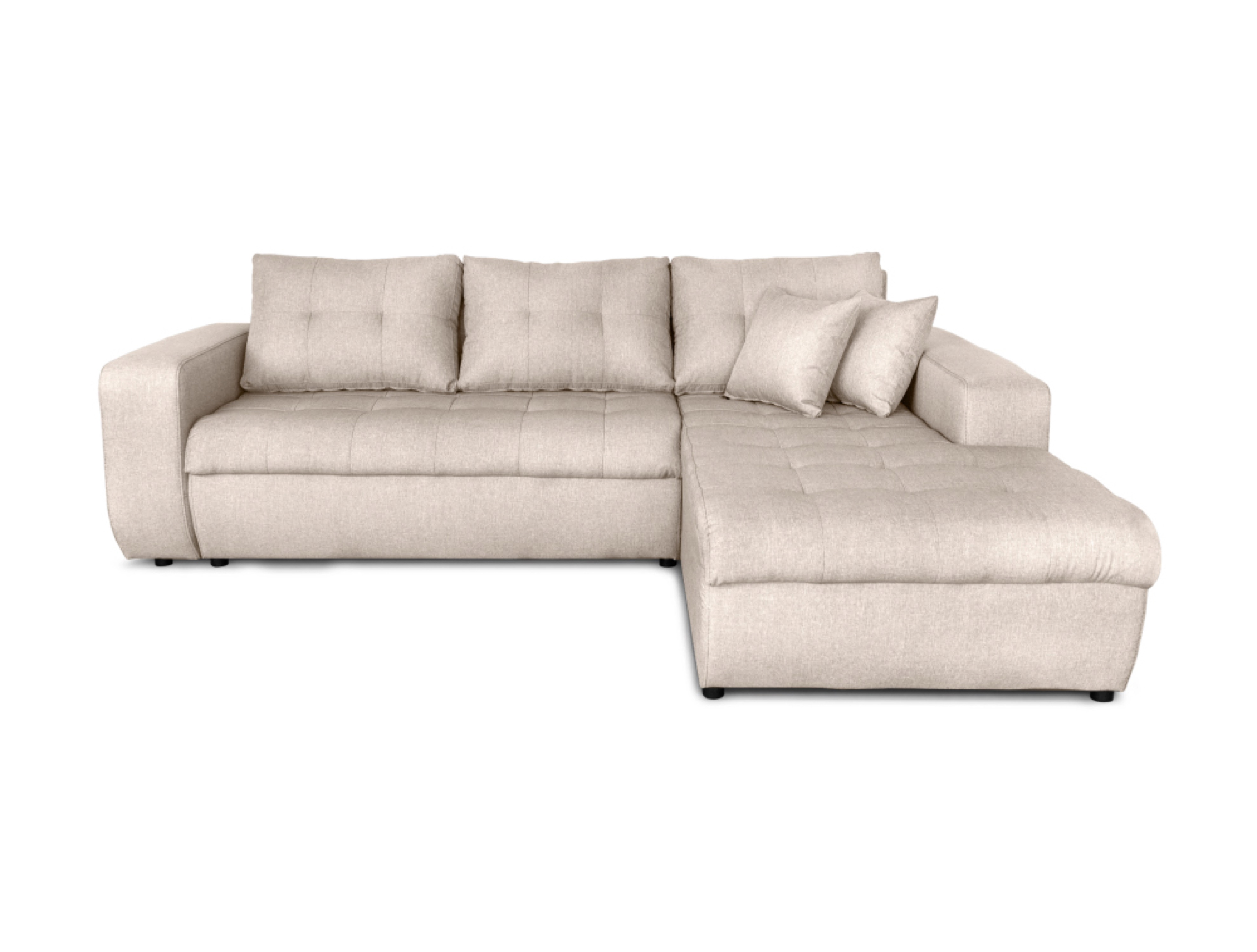 Canapé d'angle droit convertible 4 places en tissu beige