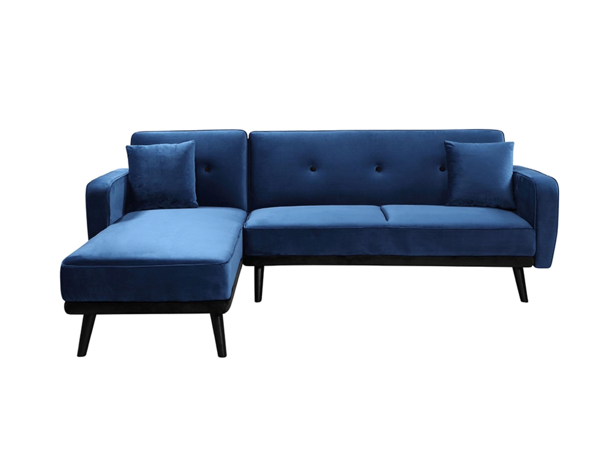 Canapé d'angle Bleu Velours Design Confort