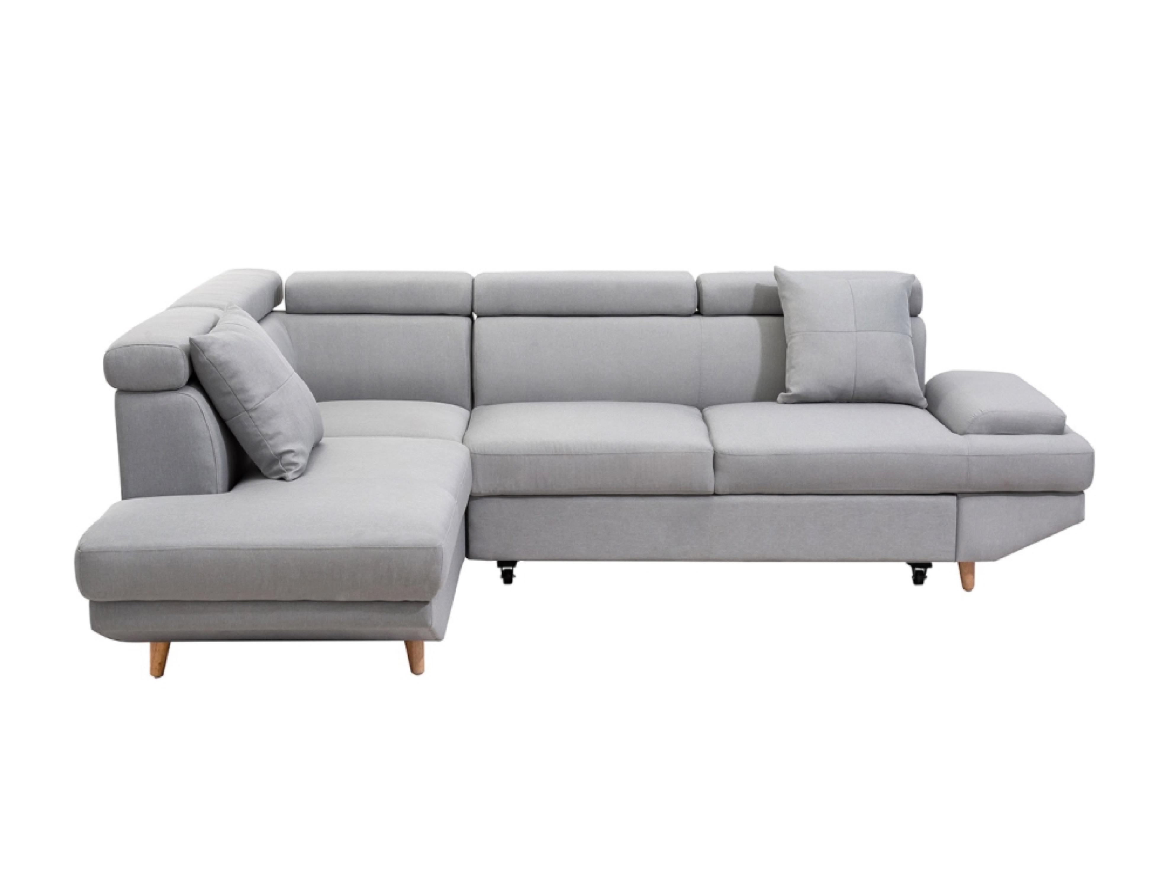 Canapé d'angle gauche convertible 4 places en tissu gris clair