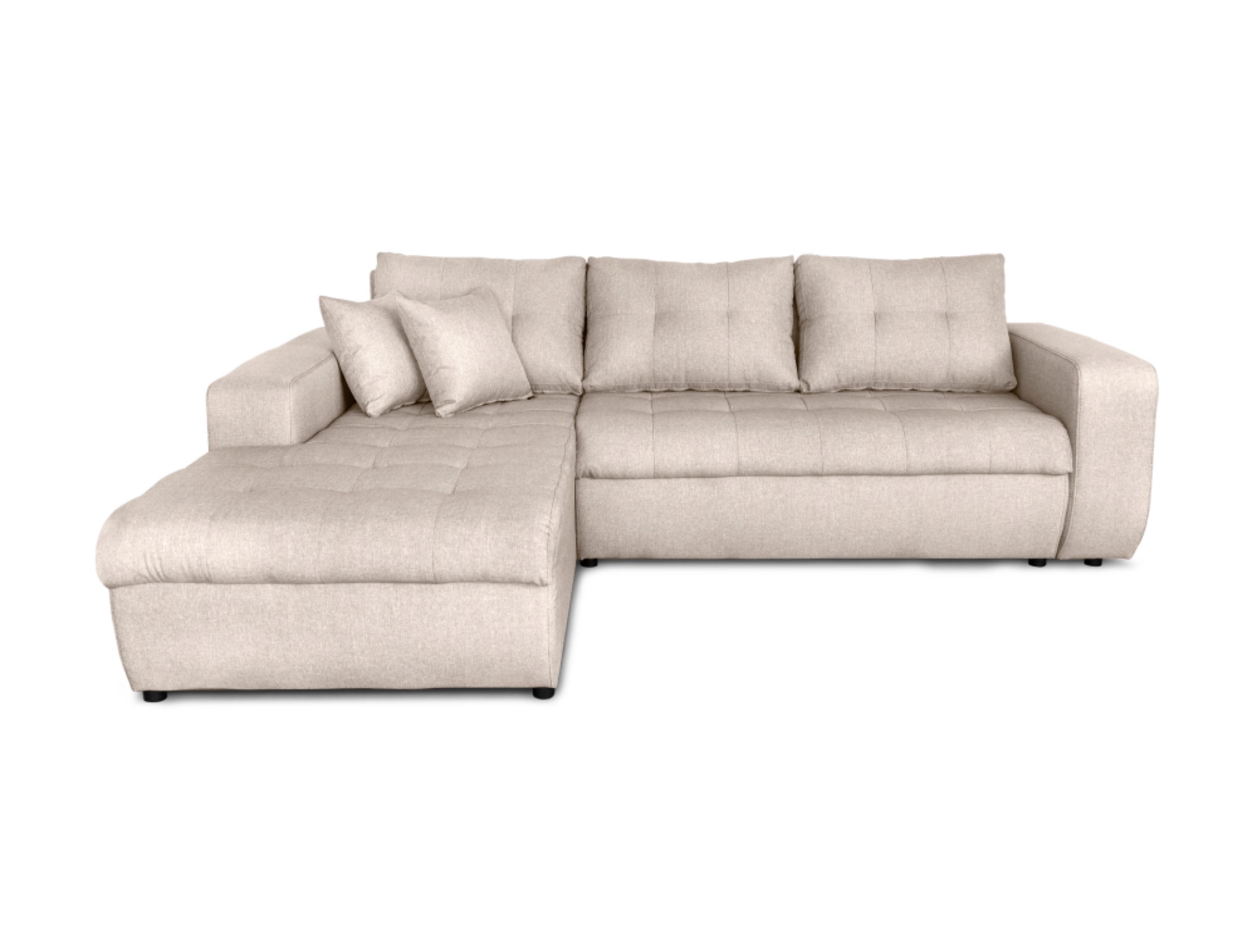 Canapé d'angle gauche convertible 4 places en tissu beige